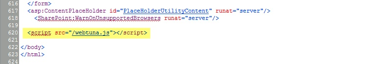 WebTuna JavaScript code before closing BODY tag