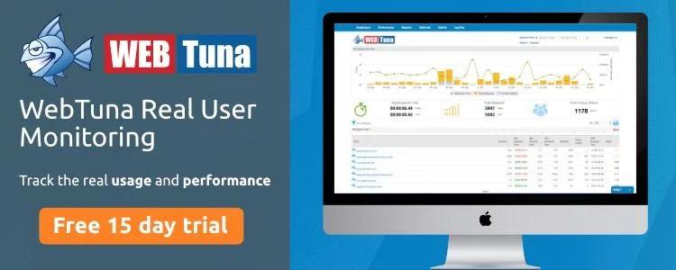 Median v  Mean v  Total response time - WebTuna