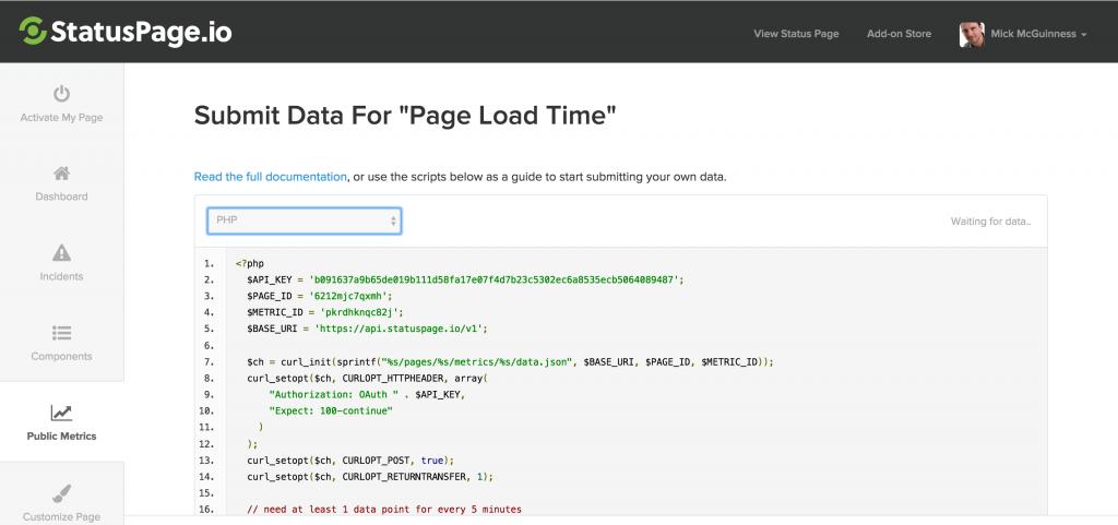 StatusPage.io PHP code